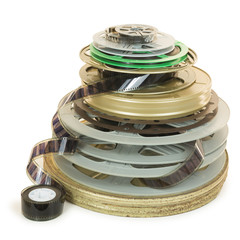 Pile of Several Types of Movie Film Reels