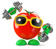 Tomato lifts his weights