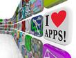 I Love Apps Words Appplication Software Tile Icons Display