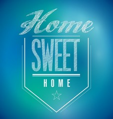 blue and green Vintage Home Sweet Home Sign poster