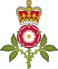 Royal badge of England.Heraldic Tudor rose and S.Edward's Crown