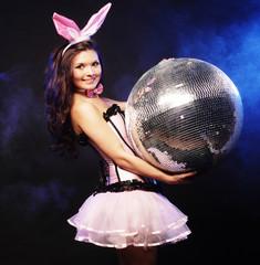 sexy bunny-girl with disco ball