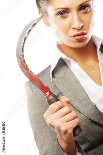 business woman with sickle