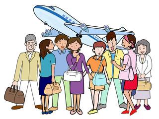 団体で空の旅