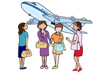 女子会で空の旅