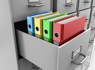 binder folders in filing cabinet