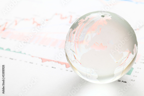 Glass earth ball on the financial chart