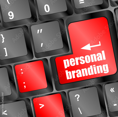personal branding on computer keyboard key button
