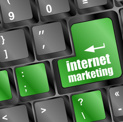 online marketing internet, message on key of keyboard