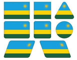 set of buttons with flag of Rwanda