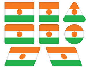 set of buttons with flag of Niger
