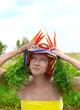 eccentric woman with fresh carrot