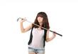 Постер, плакат: девушка и гольфовая клюшка спорт и отдых