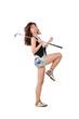 Постер, плакат: весёлая девушка играет в гольф