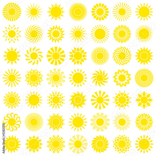 Yellow Sun Icons Big Set