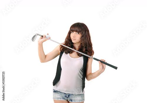 Постер, плакат: девушка и гольфовая клюшка спорт и отдых, холст на подрамнике