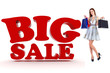 Attractive young woman with shopping bags and 3d Sale text
