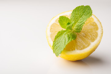 Fresh lemon and green mint