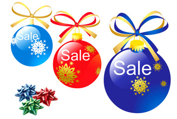 Christmas bauble icons with sale text