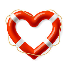 Life buoy in the shape of heart