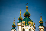Saint Andrew's cathedral over blue sky in Kiev, Ukraine. The chu