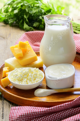 still life of dairy products (milk, sour cream,  cottage cheese)