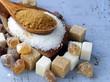 Leinwandbild Motiv Various kinds of sugar, brown, white and refined sugar