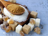 Various kinds of sugar, brown, white and refined sugar