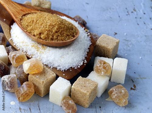 canvas print picture Various kinds of sugar, brown, white and refined sugar