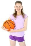 Fototapety Sportliche Jugendliche mit Basketball