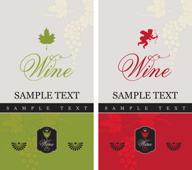 two labels for red and white wine