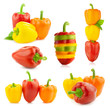 Colored Fresh Peppers -  big Set - Different compositions - Isol