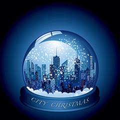 city snow globe
