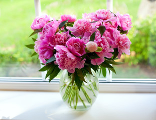 pink peonies on window sill
