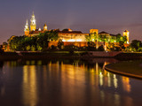 Wawel castle and Vistula river at night