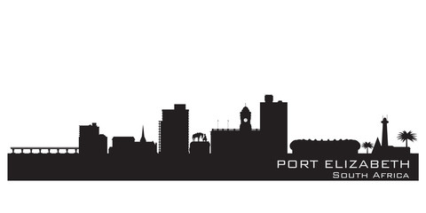 Port Elizabeth South Africa skyline Detailed vector silhouette