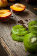 sliced kiwi fruit on a cutting board