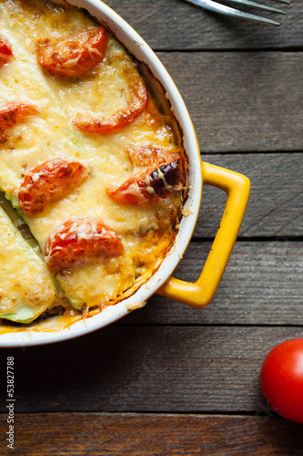 squash casserole with cheese and tomatoes