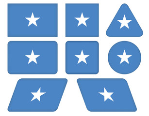 set of buttons with flag of Somalia