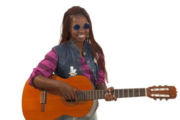 Beautiful african woman playing guitar