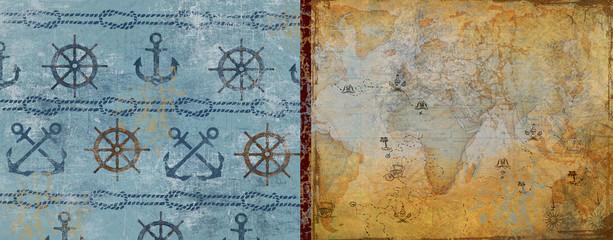 Card. journey. adventure. sea.rope.background