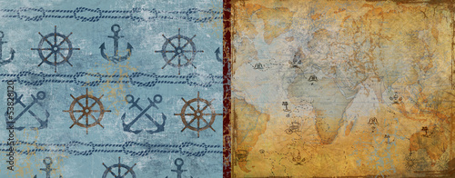 Card. journey. adventure. sea​​.rope.background
