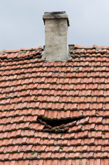old damged roof