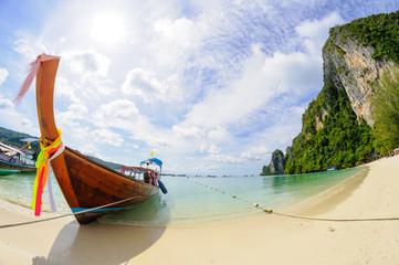 Tropical beach, traditional long tail boat, Poda Bay, Thailand