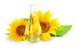 Sunflower oil with sunflowers on white background