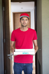 Portrait of a deliveryman delivering pizza