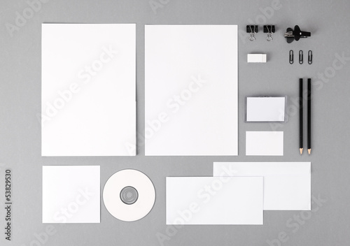 Blank visual identity. Letterhead, business cards, envelopes, fo