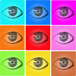 Auge Fingerabdruck icon Set