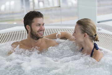 Couple in a hot tub