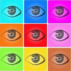Auge Fingerabdruck icon Set